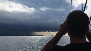 A waterspout estimated to be 200-metres-wide at its base is spotted off the coast of Lasqueti Island, B.C. (Courtesy Shaun Radke)