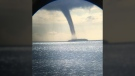 Witnesses capture images of a waterspout estimated to be 200-metres-wide at its base off the coast of Lasqueti Island, B.C.