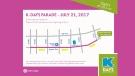 K-Days Parade map