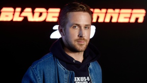 "Ryan Gosling, a cast member in the upcoming film ""Blade Runner 2049,"" poses during a photo call backstage of the Sony Pictures Entertainment presentation at CinemaCon 2017 at Caesars Palace, in Las Vegas, on Monday, March 27, 2017. (Photo by Chris Pizzello/Invision/AP)"