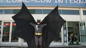 Howard Gemsler of Irvine, dresses as Batman on day one of Comic-Con International in San Diego on Thursday, July 20, 2017. (Richard Shotwell / Invision)