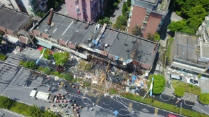The site of an explosion is seen in Hangzhou, capital of east China's Zhejiang Province on Friday, July 21, 2017. (Ke Qing / Xinhua)