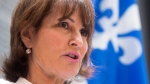 Quebec Immigration, Diversity and Inclusiveness Minister Kathleen Weil makes an announcement about the fight against systemic discrimination and racism. dow}, July 20, 2017 in Montreal. (THE CANADIAN PRESS/Ryan Remiorz)