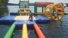 Quilli's Family Fun Waterpark is an inflatable obstacle course floating on the St. John River.
