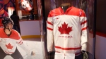 Sidney Crosby's jersey from the 2010 Winter Olympics is on display at a hockey exhibit at the Museum of History in Gatineau, Quebec, on Thursday, March 9, 2017. (THE CANADIAN PRESS/ Patrick Doyle)