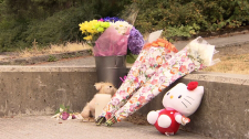 Flowers, cards, candles and stuffed animals have been left in the Burnaby park where 13-year-old Marrisa Shen was found dead this week. July 21, 2017. (CTV)
