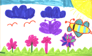 Weather art by Audrey, age 7.