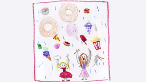 Weather art by Mira, age 8, from Suncrest School.