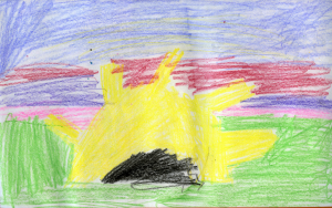 Weather art by Hayden, age 7.