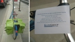 Photos posted on Twitter by Lisa Larson showed her bicycle locked up to a City of Edmonton sign post, with a note and a warning from the Katz Group.