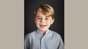 Prince George celebrates his fourth birthday on Saturday. July 22, 2017. This an image taken at the end of June 2017 at Kensington Palace in London, a new official portrait  to mark His Royal Highness's fourth birthday. (Chris Jackson/Getty Images via AP)