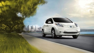 This photo provided by Nissan shows the 2017 Leaf EV which is scheduled to be replaced by an all-new model in fall 2017. (Courtesy of Nissan North America, Inc. via AP)