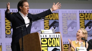 "Kyle MacLachlan, left, addresses fans as Naomi Watts reacts at the ""Twin Peaks"" panel on day two of Comic-Con International on Friday, July 21, 2017, in San Diego. (Photo by Al Powers/Invision/AP)"