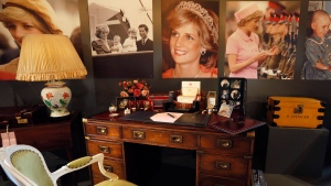 A display to mark the 20th anniversary of the death of Britain's Diana, Princess of Wales, a recreation of the desk where Princess Diana worked in her Sitting room at Kensington Palace, on display at Buckingham Palace in London, Thursday, July 20, 2017. Summer visitors to the State Rooms at Buckingham Palace will also be able to see a display of over 200 gifts presented to Her Majesty The Queen over her 65 year reign. (Kirsty Wigglesworth / AP)
