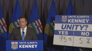PC Leader Jason Kenney announces the results of the PC vote to merge with the Opposition Wildrose on Saturday, July 22, 2017. (Source: Jason Kenney, Facebook)