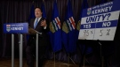 Alberta PC Party leader Jason Kenney announces the results of the referendum on unity in Calgary, Alta., Saturday, July 22, 2017.THE CANADIAN PRESS/Jeff McIntosh