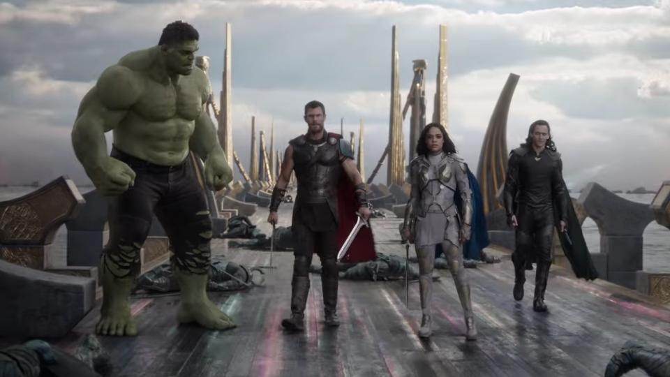 The Hulk (Mark Ruffalo), Thor (Chris Hemsworth), Valkyrie (Tessa Thompson) and Loki (Tom Hiddleston) are shown in a scene from 'Thor: Ragnarok.' (Marvel Entertainment / YouTube)