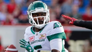 Saskatchewan Roughriders quarterback Kevin Glenn looks to pass during first half CFL football action against the Calgary Stampeders in Calgary on Saturday July 22, 2017. THE CANADIAN PRESS/Larry MacDougal