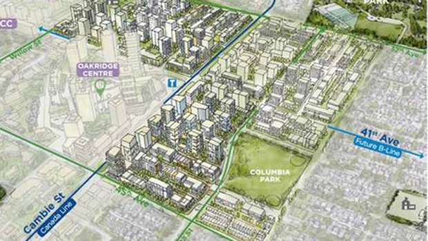 This rendering from the City of Vancouver shows its vision for the Oakridge Municipal Town Centre. This area is where the city is conducting its pilot project requiring all new rental buildings to rent 20 per cent of their units below market value and tied to tenants' incomes. (Katie Robb)