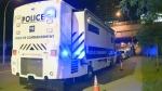 A mobile command centre was set up near the Guy St. police station after one inmate seriously injured another prisoner