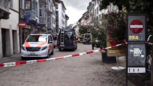The police shut down the old town of Schaffhausen in Switzerland, while they search for an unknown man who attacked people. (Ennio Leanza/Keystone via AP)