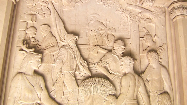 A detail of a Dominion Sculptor carving at Parliament in Ottawa, Canada. (CTV News)