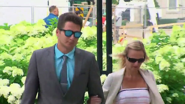 Mitchell Irwin arrives at a Toronto courthouse ahead of his sentencing in the 2015 hit-and-run death of a cyclist.
