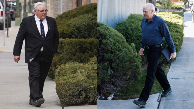 Combination image: Winston Blackmore, left, and James Oler arrive to hear the verdicts in their trial in Cranbrook, B.C., Monday, July 24, 2017. (Images by Jeff McIntosh / The Canadian Press)