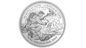 A Canadian silver collector coin that is being issued for the 75th anniversary of an Allied attack on the German-occupied port of Dieppe during the Second World War is seen in this undated handout photo from the Royal Canadian Mint. (HO, Royal Canadian Mint/The Canadian Press)