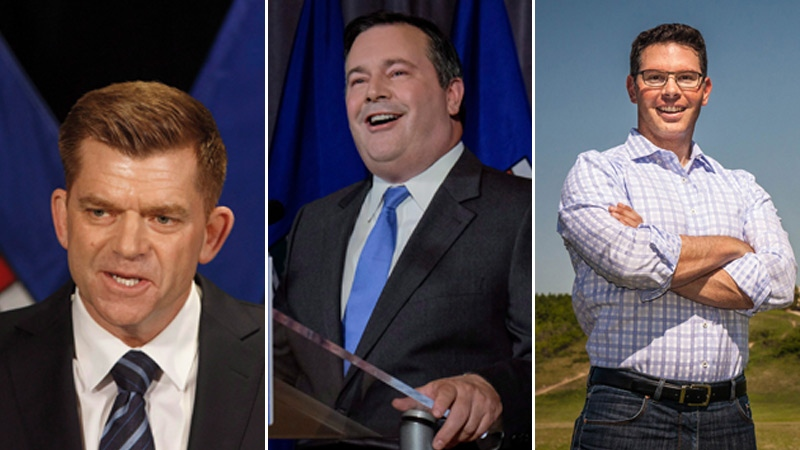 UCP leadership candidates Brian Jean, Jason Kenney and Dough Schweitzer are seen in a composite image.