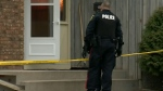 A police officer investigates a crime in Winnipeg