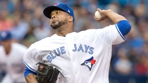 Toronto Blue Jays starting pitcher Francisco Liriano throws against the Oakland Athletics during first inning AL MLB baseball action in Toronto, Monday, July 24, 2017. (THE CANADIAN PRESS/Fred Thornhill)