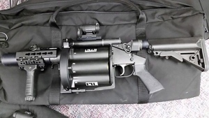 A 40MM Abrams Airborne Mfg Inc. Less Lethal Multi-Launcher (gas gun) is seen in this undated handout photo from the RCMP.