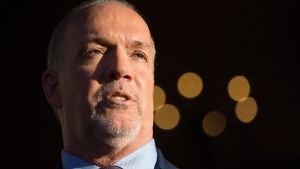 British Columbia Premier-designate, NDP Leader John Horgan speaks outside Government House after meeting with Lt-Gov. Judith Guichon in Victoria, B.C., on Thursday, June 29, 2017. (Darryl Dyck / THE CANADIAN PRESS)
