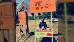 Pastor Mark Kleiner offers spiritual help outside Christ Church Anglican in Saskatoon. (Christ Church Anglican Saskatoon / Facebook)