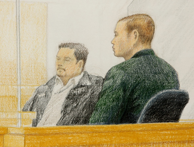 A courtroom sketch shows Dennis Karbovanec, right, during his sentencing in Vancouver, B.C., on Thursday April 9, 2009. (CP/Jane Wolsak)