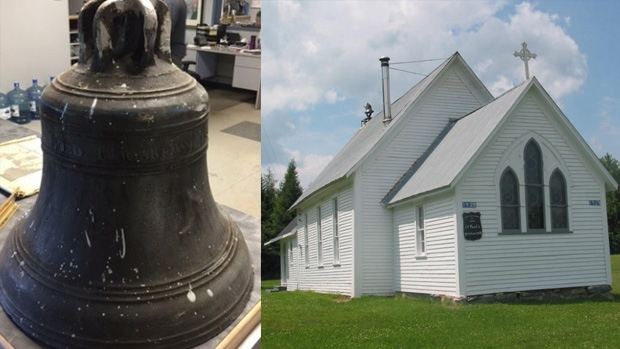 Police say this church bell was stolen from St. Paul's Anglican Church some time between July 16 and July 24. (New Brunswick RCMP)