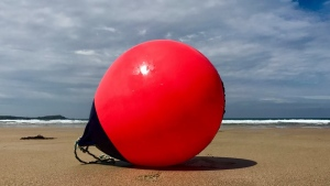 The buoy was discovered in England after it went missing six months earlier in Nova Scotia. (Tracey Williams/Facebook)