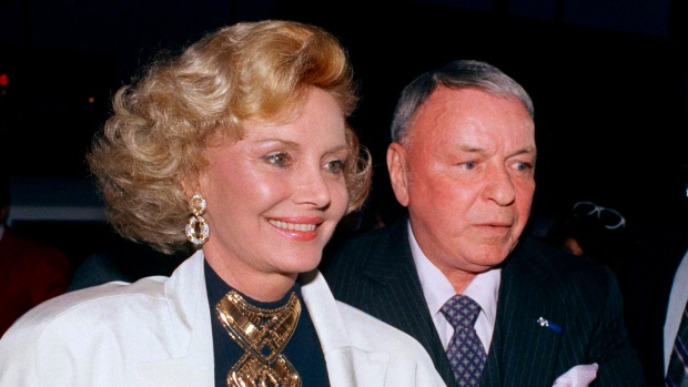 In this July 12, 1988 file photo Frank Sinatra and his wife Barbara appear at Milton Berle's 80th birthday party in Los Angeles. (AP)
