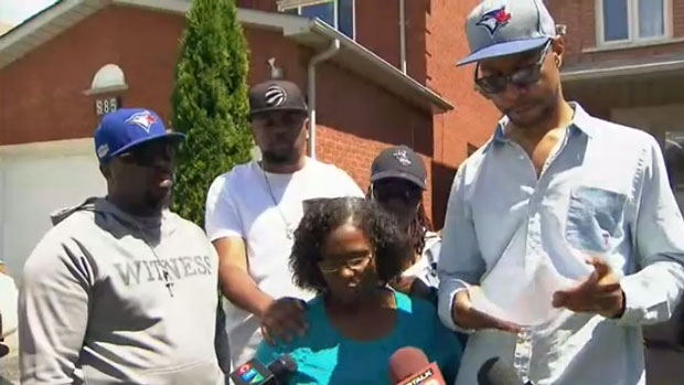 The Lewis family speaks to reporters about their relative's condition following a shooting in Scarborough over the weekend.