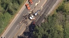 A collision involving a tractor-trailer on Mary Hill Bypass in Port Coquitlam is seen in this image form CTV's Chopper 9 on Tuesday, July 25, 2017.