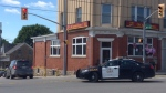 Police investigate a bank robbery in Milverton on Tuesday, July 25, 2017. (David Pettitt / CTV Kitchener)