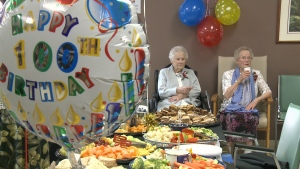 Amy Pollock and Irene Stephens celebrated their 100th birthday in Cobden, Ont. on Tuesday , July 25, 2017.