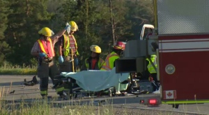 A motorcycle was airlifted to hospital following a serious crash in Linwood on Tuesday evening.