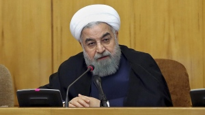President Hassan Rouhani speaks during a cabinet meeting in Tehran, Iran, on July 19, 2017. (Iranian Presidency via AP)