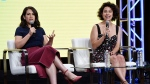"Abbi Jacobson, left, and Ilana Glazer, the co-creators, co-writers and co-stars of the Comedy Central show ""Broad City,"" take part in a panel discussion on the show during the 2017 Television Critics Association Summer Press Tour at the Beverly Hilton on Tuesday, July 25, 2017, in Beverly Hills, Calif. (Photo by Chris Pizzello/Invision/AP)"