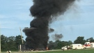 A plume of smoke rises from a transport truck after a multi-vehicle crash in Comber. (Courtesy: Kyle McLeod)
