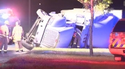 Semi truck rolled on 16 Avenue