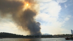 Wildfires burning in the southern area of France