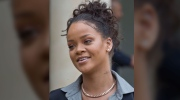 Rihanna speaking to reporters in France